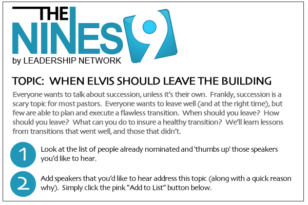 Headline for 2012 NINES Speaker Suggestions - Succession & Leadership Transition