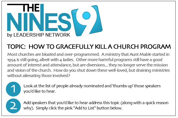 Headline for 2012 NINES Speaker Suggestions - Killing a Church Program