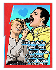 David Bowie and Freddie Mercury Valentine's Day Card