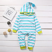 Striped Hooded Romper Playsuit for Baby Girls