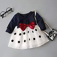 Navy Blue Dotted Bow Dress for Baby Girls - MyPreciousLittleOne