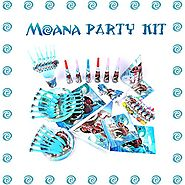 Moana Birthday Party Supplies and Decorations - 117 Items Pack For 8 Guests - BONUS Gift: The Necklace Heart of Te Fiti