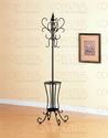 Classic Black Metal Coat Rack Hat Stand w/Umbrella Holder