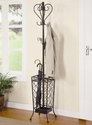 Coaster Home Furnishings 900811 Metal Coat Rack with Umbrella Stand, Antique Brown