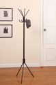 Kings Brand Dark Brown Finish Metal Coat & Hat Rack Stand With 8 Hooks