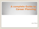 Career planning and management guide