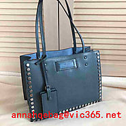 Prada Metal Stud Trim Etiquette Tote Bag 1BG121 Blue 2017