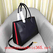 Prada Women's Bibliotheque Bag Calf Leather 1BG098 Black and Red
