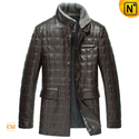 Brown Leather Padded Coat for Men CW829256