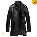 Trench Men Leather Coat with Belt CW840675