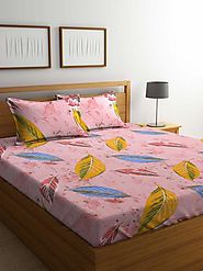 Buy Online Mafatlal Pink Cotton 144 TC Double Bed Sheet With Pillow Covers – mafatlalonline