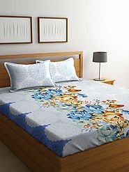 Buy Online Mafatlal Blue Cotton 144 TC Double Bed Sheet With Pillow Covers – mafatlalonline