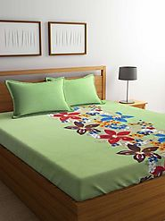 Buy Online Mafatlal Green Cotton 144 TC Double Bed Sheet With Pillow Covers – mafatlalonline