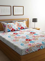 Buy Online Mafatlal White Cotton 144 TC Double Bed Sheet With Pillow C – mafatlalonline