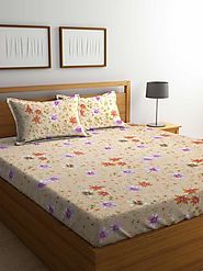 Buy Online Mafatlal Cream Cotton 144 TC Double Bed Sheet With Pillow Covers – mafatlalonline