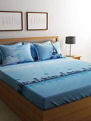 Buy Online Mafatlal Blue Cotton 144 TC Double Bed Sheet with 4 Pillow Covers – mafatlalonline
