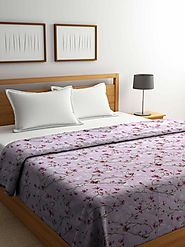 Buy Online Purple Floral Cotton Double Bed Comforter (144 TC) – mafatlalonline