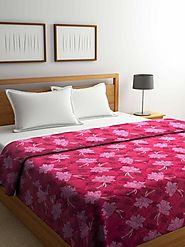 Buy Online Pink Floral Cotton Double Bed Comforter (144 TC) – mafatlalonline