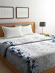 Buy Online Aqua White Cotton Double Bed Comforter (144 TC) – mafatlalonline