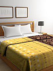 Buy Online Yellow Designer Cotton Double Bed Comforter – mafatlalonline