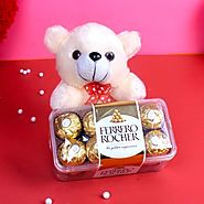 Buy/Send Teddy Bear with Ferrero Rocher Chocolate Box - YuvaFlowers