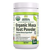 Herbal Secrets USDA Certified Organic Maca Root Powder- 16 oz (1 lb)- GMO FREE- Supports Healthy Mood, Hormonal Balan...