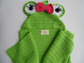 Crocheted Baby Bath Towel with Hood Frog Made of Premium Quality Italian Cotton, One of Kind Gift Idea, Size 0-2 Year...