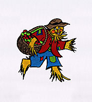 Apples Colleting Charming Scarecrow Embroidery Design | EMBMall