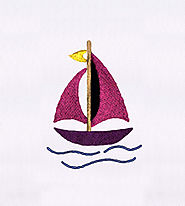 Artistic Pink Sail Boat Embroidery Design | EMBMall