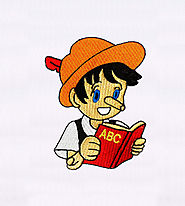 Book Reading Pinocchio Embroidery Design | EMBMall