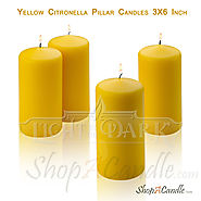 Large Yellow Citronella Scented Pillar Candles Buy At Shopacandle