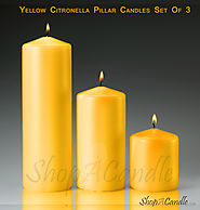 Yellow Citronella Scented Pillar Candles Set Of 3 At Shopacandle