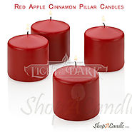Red Apple Cinnamon Pillar Candles Set Of 4 On Shopacandle