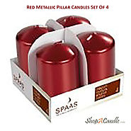 Red Metallic Pillar Candles 3 X 2 Inch Set Of 4 On Shopacadle