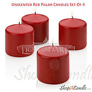 Unscented Red Pillar Candles Wholesale Set Of 4 At Shopacandle