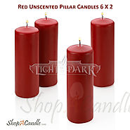 Online Red Pillar Candles Set Of Bulk For Wedding At Shopacandle