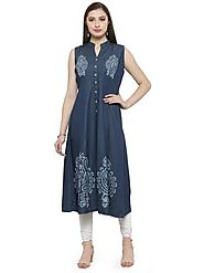 Buy Auranova by Mafatlal Blue Color Denim Kurti Online – mafatlalonline