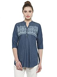 Auranova by Mafatlal Blue Tunic Top – mafatlalonline
