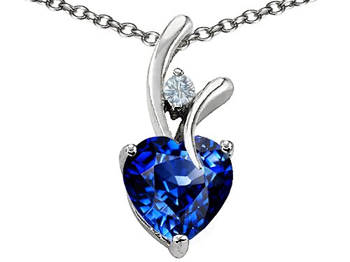 Original Star K (tm) Heart Shape 8mm Created Sapphire Pendant in .925 Sterling Silver