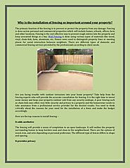 Know the importance of fencing around your properties