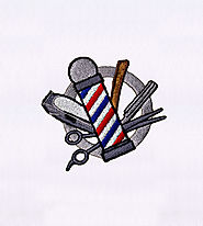 Barber's Pole and Tools Embroidery Design | EMBMall