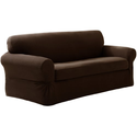Maytex Pixel Stretch 2-Piece Slipcover Sofa, Chocolate