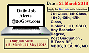 Daily Job Alerts (21 March - 11 May ) 2018 | रोजगार समाचार ~ Daily Job Alerts for Latest Employment News for 10th/12t...