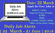 Daily Job Alerts 22 March - 21 June 2018 | रोजगार समाचार ~ Daily Job Alerts for Latest Employment News for 10th/12th ...