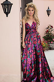 High Slit Rose Printed Gown
