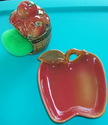 Apple Spoon Rest and Apple with Scouring Pad Tucked inside