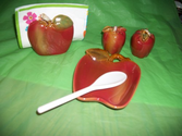 Apple Spoon Rest, Apple Salt and Pepper Shakers / Apple Napkin Holder
