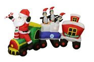 "82"" Airblown Inflatable Santa Claus Train Lighted Christmas Yard Art Decor"