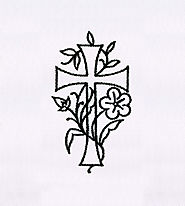 Cross Intertwined with Flower Embroidery Design| EMBMall
