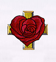 Heart Rose and a Cross Embroidery Design | EMBMall